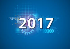 2017 happy new year Celebration background in hi technology styl. E vector illustration for use with landing page, online course cover,brochure Stock Image