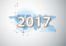 2017 happy new year Celebration background in hi technology styl. E vector illustration for use with landing page, online course cover,brochure Royalty Free Stock Image