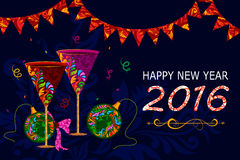 Happy New Year celebration background. Illustration of Happy New Year celebration background with drink glass Stock Photos