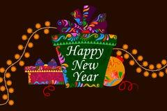 Happy New Year celebration background. Illustration of Happy New Year celebration background with gift royalty free illustration