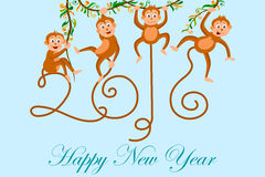 Happy New Year celebration background. Illustration of Happy New Monkey Year 2016 celebration background Royalty Free Stock Images