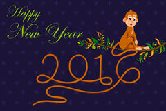 Happy New Year celebration background. Illustration of Happy New Monkey Year 2016 celebration background Royalty Free Stock Image