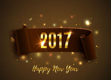Happy New Year 2017 celebration background. Happy New Year 2017 celebration background with realistic curved ribbon and glowing particles. Greeting card, flyer Stock Illustration