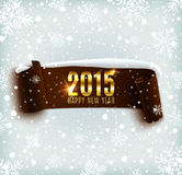 Happy New Year 2015 celebration background with. Realistic curved ribbon and snowflakes. Vector illustration Stock Photos