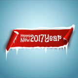 Happy New 2017 Year celebration background with red realistic curved ribbon banner, icicles and snow.  Stock Images
