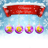 Happy New year celebration background. Happy New year 2016  celebration background with red realistic ribbon banner and snow and ball. Vector illustration Royalty Free Stock Image