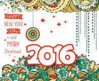 Happy New Year 2016 celebration background. Typography poster or card template with doodle style ornament. Vector illustration stock illustration