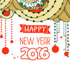 Happy New Year 2016 celebration background. Typography poster or card template with doodle style ornament. Vector illustration Stock Images