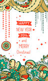 Happy New Year 2016 celebration background. Typography poster or card template with doodle style ornament. Vector illustration Stock Photography
