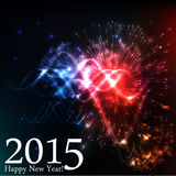 2015 happy new year. Celebration background for your posters. Brightly Colorful Vector Fireworks and Salute- vector  on black background Stock Photo