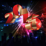 2015 happy new year. Celebration background for your posters. Brightly Colorful Vector Fireworks and Salute- vector  on black background Royalty Free Stock Photography