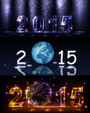 2015 happy new year. Celebration background for your posters. Brightly Colorful Vector Fireworks and Salute- vector isolated on black background Stock Photos