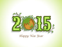 Happy New Year celebration with beautiful text. Happy New Year celebration with beautiful text of 2015, earth globe covered by leaves for save nature concept on Stock Image