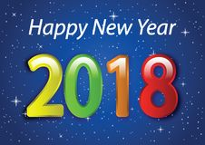 Happy New Year 2018 01 stock illustration