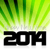 Happy New Year 2014 celebration card. Happy New Year 2014 celebration background with green rays Vector Illustration