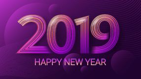 Happy New Year 2019. Celebration. Christmas. Dark ultraviolet background. Vector. vector illustration