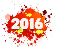 Happy new Year celebration 2016 with colorful spray paint template background Stock Photography