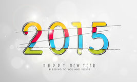 Happy New Year celebration with colorful text. Happy New Year celebration poster, banner or flyer with stylish colorful text 2015 on shiny gray background Royalty Free Stock Images