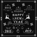 Happy New Year celebration concept. Beautiful typographic and ornaments collection for New Year 2015, Merry Christmas and Happy Holidays celebration Royalty Free Stock Photo