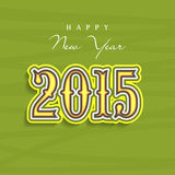 Happy New Year 2015 celebration concept. Happy New Year 2015 celebrations greeting card design with creative text on green background Royalty Free Stock Photo