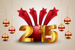 Happy New Year 2015 celebration concept. In color background Royalty Free Stock Image