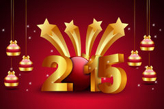 Happy New Year 2015 celebration concept. In color background Stock Photos