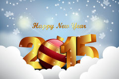 Happy New Year 2015 celebration concept. In color background Royalty Free Stock Photo