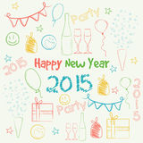Happy New Year 2015 celebration concept. Colorful doodles set for Happy New Year 2015 celebrations Royalty Free Stock Photography