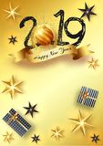 Happy New Year celebration concept, Creative text 2019 with baub. Le, stars and gift boxes on glossy golden background vector illustration