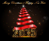 Happy New Year 2015, celebration concept with golden text Stock Photography