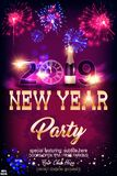 Happy New Year 2019 celebration concept with golden text, fireworks, champagne, golden clock in the night. On beautiful glitter background. Vector EPS 10. To royalty free illustration