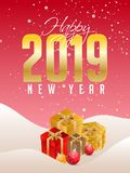 Happy New Year celebration concept, Golden text 2019 with gift b. Oxes and baubles on glossy red background royalty free illustration