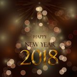 Happy new year 2018. Celebration concept with rChristmas tree shape and stylize golden and brown text on brown background Royalty Free Stock Images