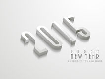Happy New Year celebration concept with shiny 3D text 2015 . Shiny 3D text 2015 with wishing message on grey background for Happy New Year celebration concept Stock Photo