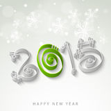 Happy New Year 2015 celebration concept. Stylish text of 2015 for Happy New Year celebration on snowflake decorated shiny grey background Royalty Free Stock Photos