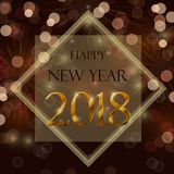 Happy new year 2018. Celebration concept with stylize golden text on brown background Royalty Free Stock Photography