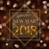 Happy new year 2018. Celebration concept with stylize golden text on brown background Royalty Free Stock Images