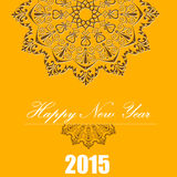 Happy New Year 2015, celebration concept with white text on beautiful pattern Stock Photography
