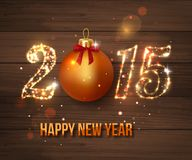 Happy New Year 2015 celebration concept on wooden. Background. Vector illustration royalty free illustration