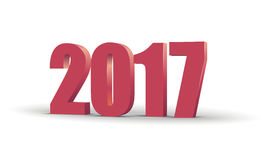 Happy New Year 2017 celebration 3d text. Red 2017 number calendar template. Colorful, volumetric paper typeface on Stock Images