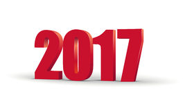 Happy New Year 2017 celebration 3d text. Red  number calendar template. Colorful, volumetric paper typeface on  Stock Image