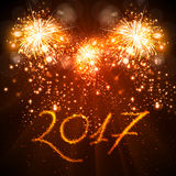 Happy New Year 2017 celebration fireworks. Background Royalty Free Stock Photography