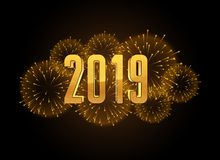 Happy new year 2019 celebration fireworks background. Vector vector illustration