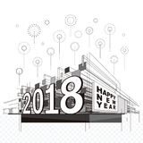 Happy New Year 2018. Celebration fireworks urban abstract background Stock Image