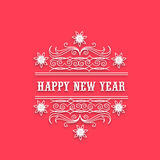 Happy New Year celebration with floral design. Happy New Year 2015 celebration with floral design and text on red background Royalty Free Stock Photo
