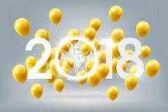 Happy New Year 2018 celebration with golden balloons and white light abstract clock on white background, vector illustration. Happy New Year 2018 celebration Stock Photography