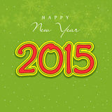 Happy New Year 2015 celebration greeting card. Beautiful 2015 text for Happy New Year celebration on snowflake decorated shiny green background Royalty Free Stock Photography