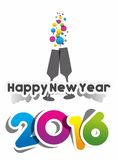 Happy new year 2016. Celebration greeting card design Stock Photography