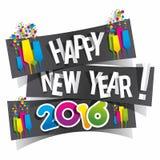 Happy new year 2016. Celebration greeting card design Stock Image