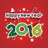 Happy new year 2016. Celebration greeting card design Royalty Free Stock Photos